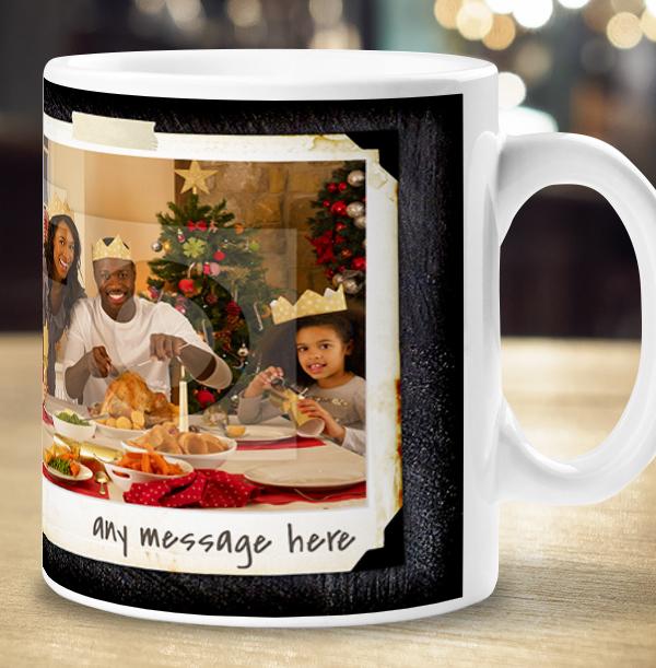 Christmas 2 Photo Chalk Personalised Mug