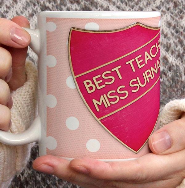 Personalised Mug - Thank You Teacher Best Teacher Pink