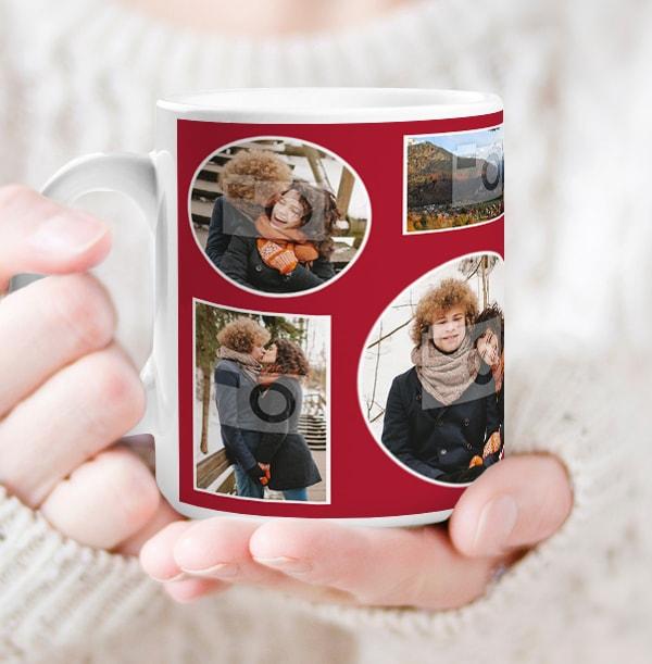Multi Photo Upload Red Mug