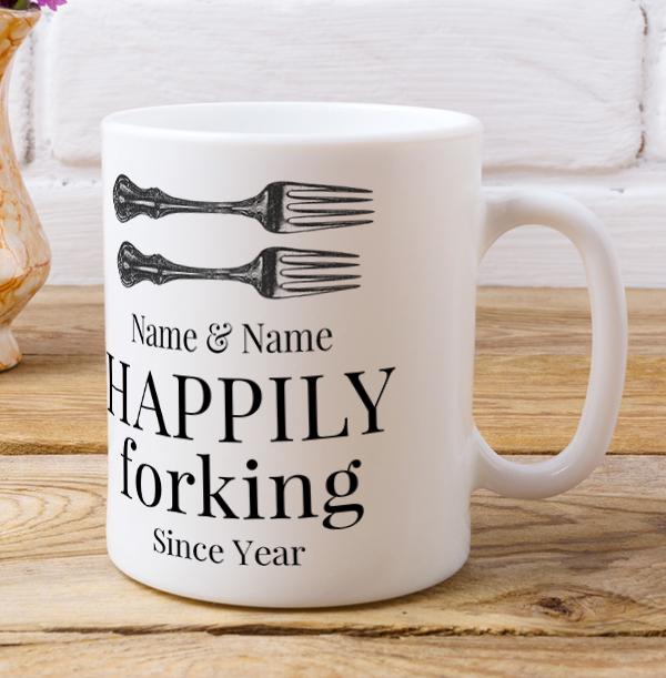 Happily Forking Personalised Mug