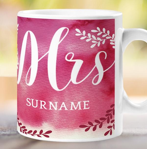 Mrs Personalised Wedding Mug