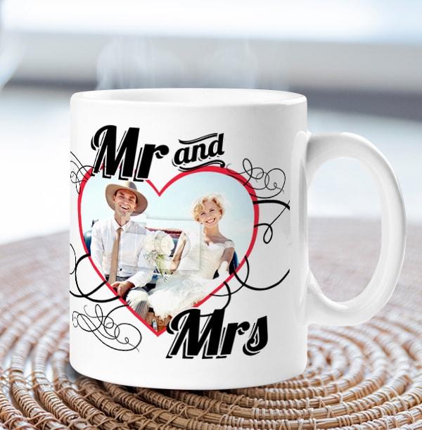 Mr & Mrs Heart Photo Wedding Mug