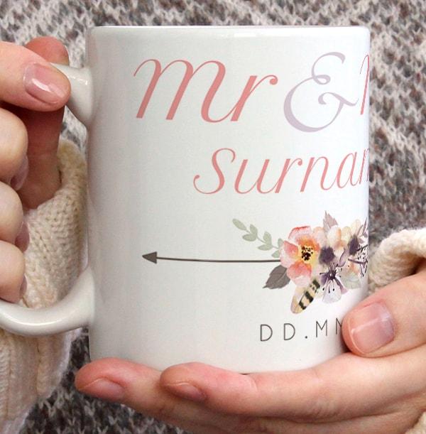 Mr & Mrs Boho Wedding Photo Mug