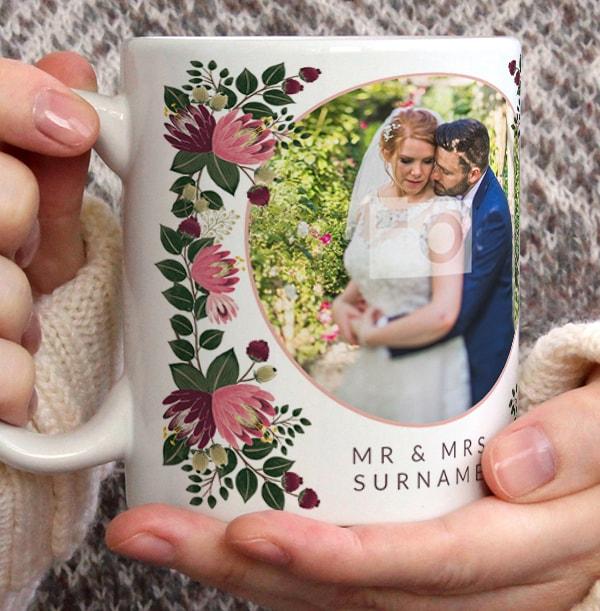 Mr & Mrs Floral Wedding Photo Mug