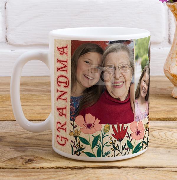 Grandma 4 Photo Personalised Mug