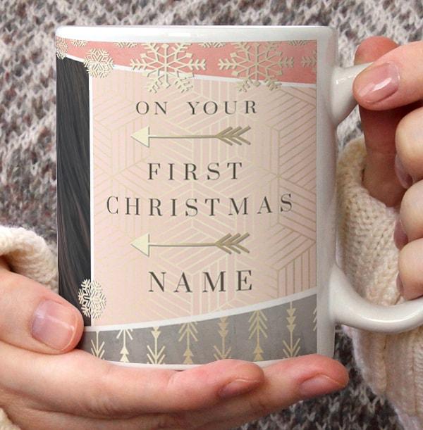 Baby Girl First Christmas Photo Mug