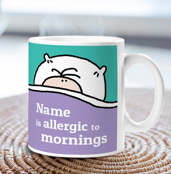 Allergic To Mornings Personalised Mug