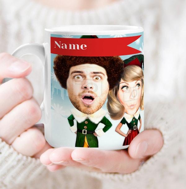 Elf Couple's Christmas Mug - Photo Upload