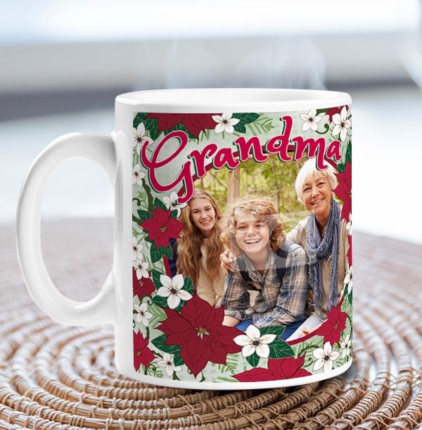 Grandma Poinsettia Personalised Mug