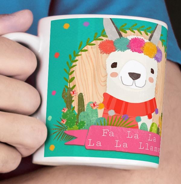 Festive Llama Photo Mug