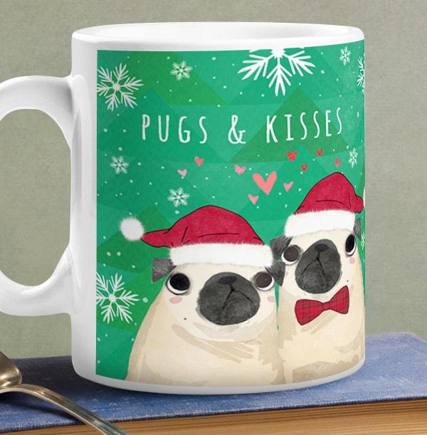 Christmas Pugs & Kisses Photo Mug