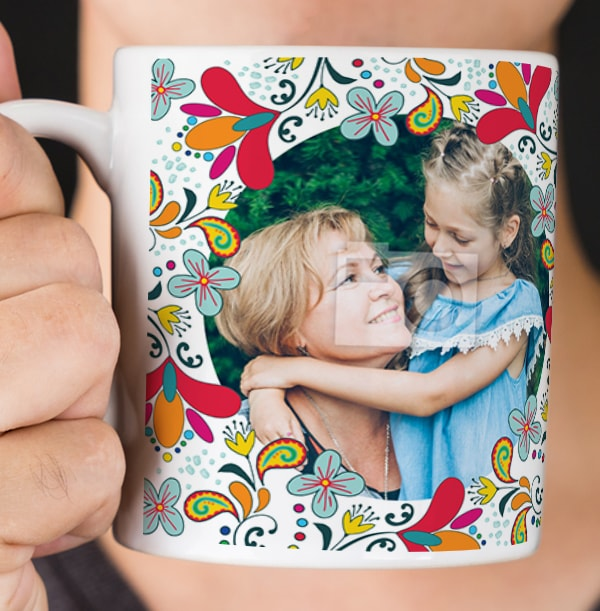 Flower Pattern Multi Photo Mug