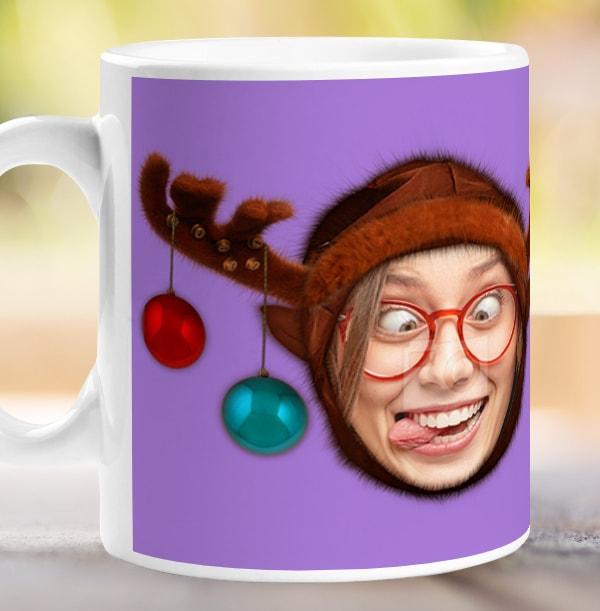 Reindeer Photo Upload Mug