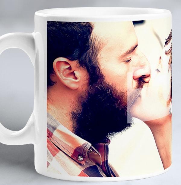 Personalised Photo Mug With Black Banner