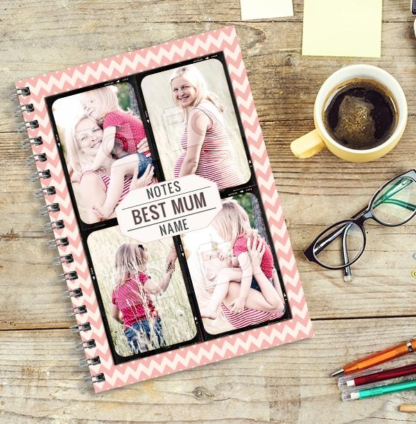 Best Mum Personalised Photo Notebook, Pink