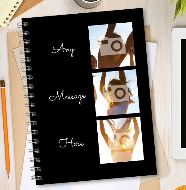 3 Photo & Side Text Black Notebook