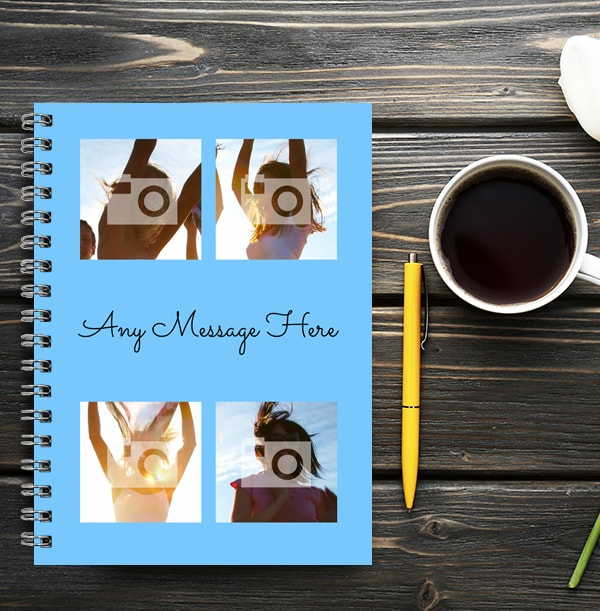 4 Photo & Middle Text Blue Notebook