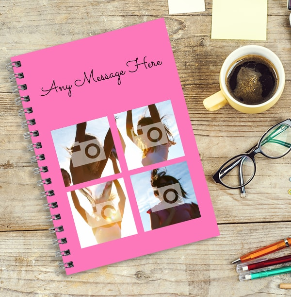 4 Photo & Top Text Pink Notebook