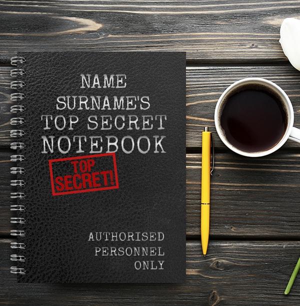 Little Black Book Top Secret Notebook, Personalised