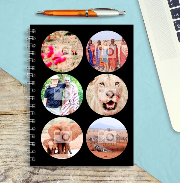 6 Circle Photo Notebook, Black