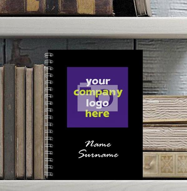 Company Logo Black Personalised Notebook