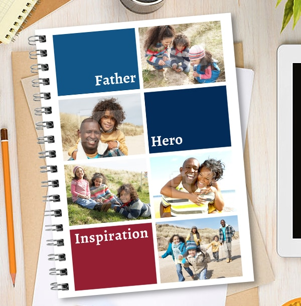 Father, Hero, Inspiration Photo Collage Notebook