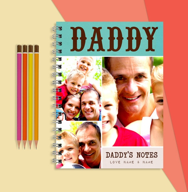 3 Photo Personalised Daddy Notebook, From Kids