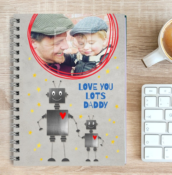 Love You Lots Daddy Photo Notebook, Robots