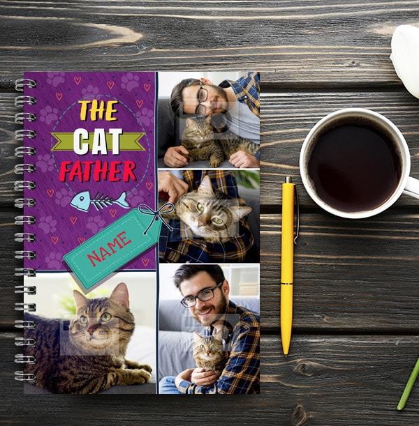 Cat Father Photo Collage Notebook