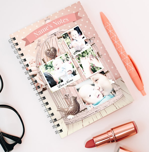 Mum & Baby Personalised Notebook, Pink