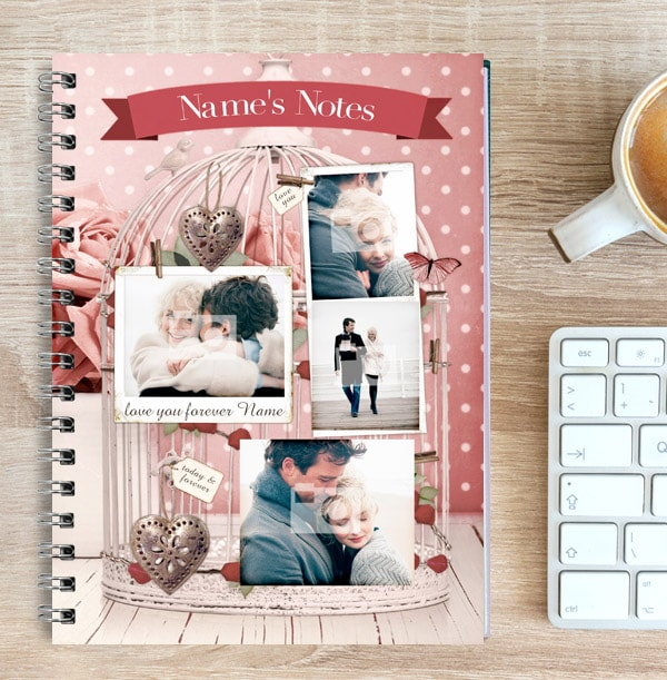 Birdcage Themed Photo Collage Romantic Notebook