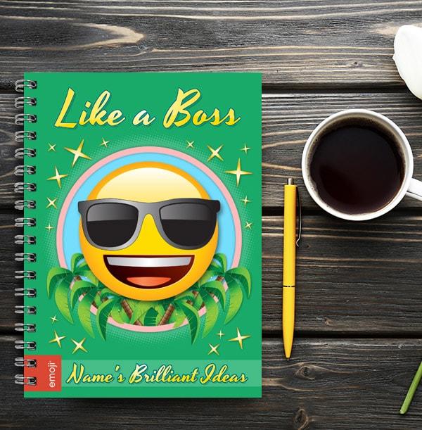 Singlasses Emoji Personalised Notebook - Like a Boss