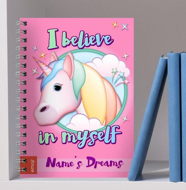 Unicorn Emoji Personalised Notebook - I Believe