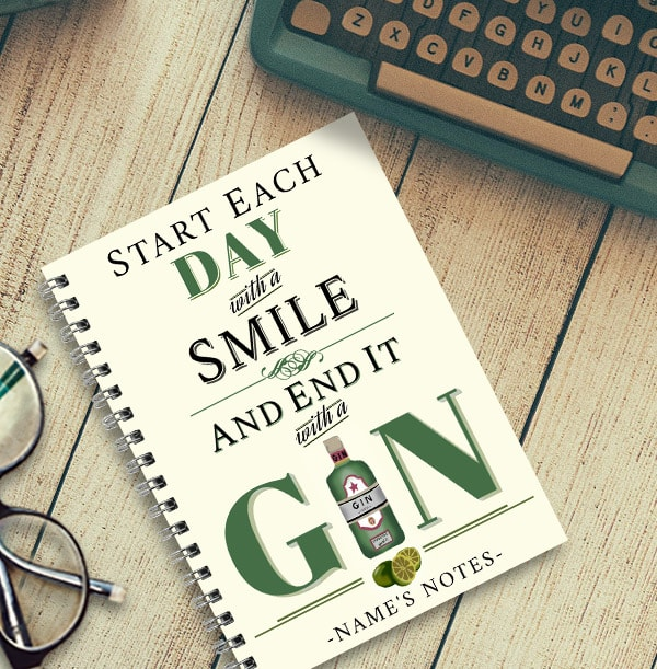 Personalised Gin Notebook, End Each Day