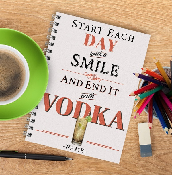 Personalised Vodka Notebook, End Each Day