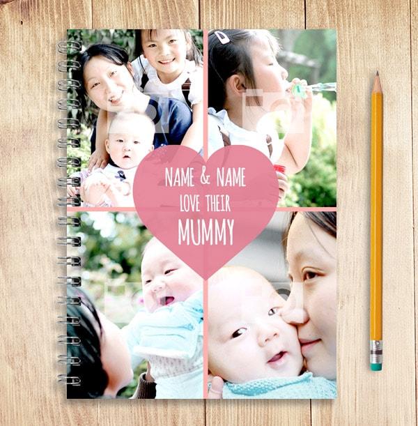 Love Heart Personalised 4 Photo Mum Notebook