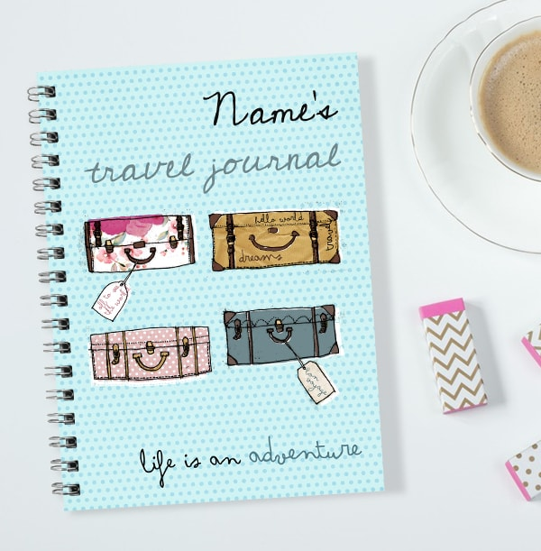 Suitcase-Themed Personalised Travel Journal