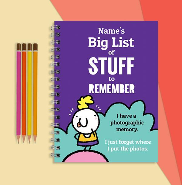 Big Lists of Stuff Personalised Cartoon Notebook