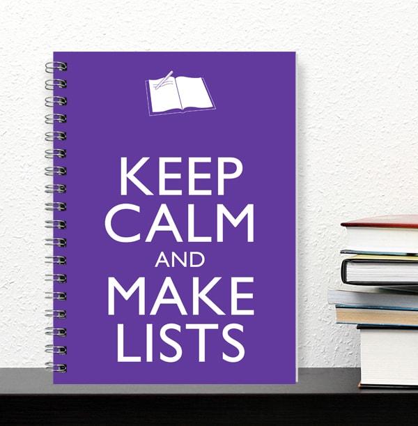 Keep Calm Make Lists Notebook