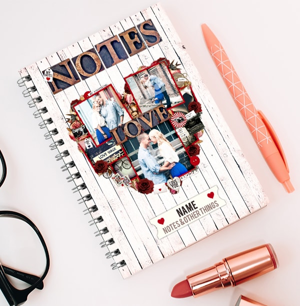 Love Notes Personalised 3 Photo Notebook