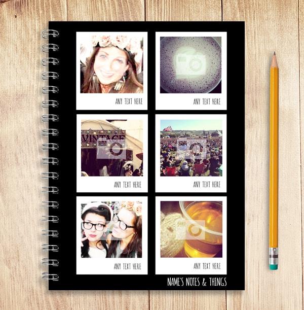Black & White Polaroid Photo Collage Notebook