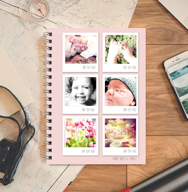 Pink New Baby Photo Collage Notebook