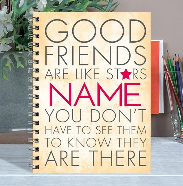 Good Friends Like Stars Personalised Notebook