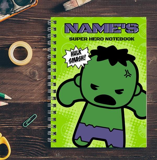 Personalised Mini Hulk Notebook - Marvel Kawaii