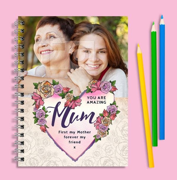 Amazing Mum Floral Photo Notebook