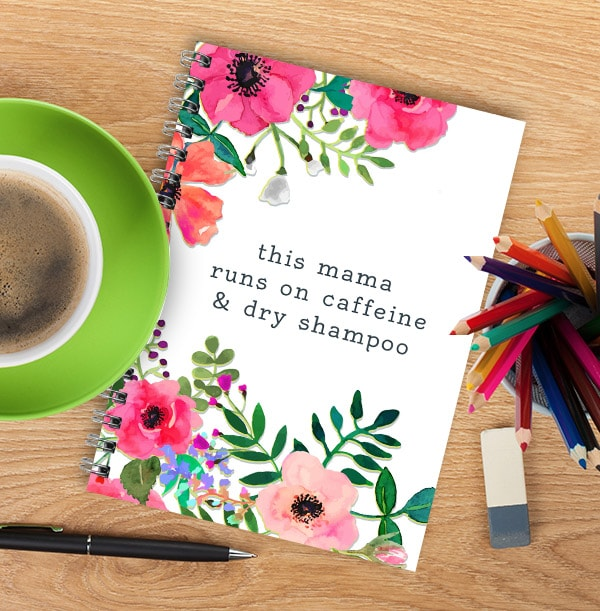 Caffeine & Dry Shampoo Personalised Floral Notebook
