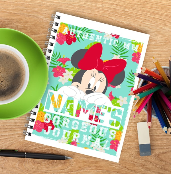 Minnie Mouse Gorgeous Personalised Notebook, Floral