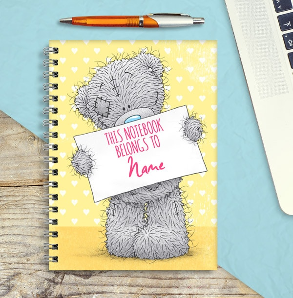 Yellow Tatty Teddy Personalised Name Notebook