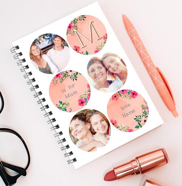 Mum Initial 3 Photo Collage Notebook