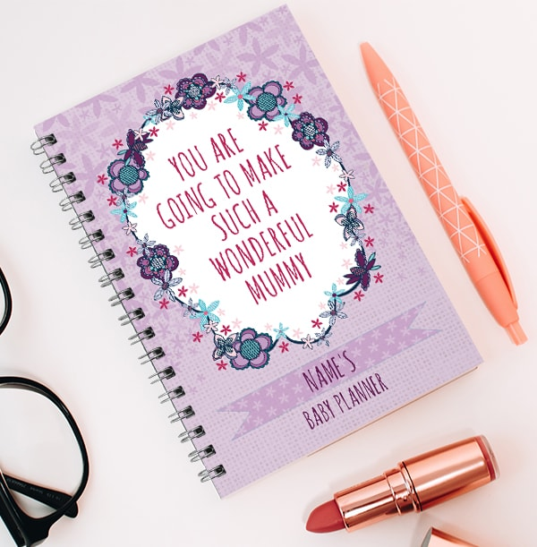 Purple Baby Planner Notebook, Wonderful Mum
